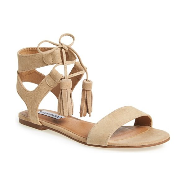 Steve Madden daryyn lace-up sandal in sand suede - Crafted from soft suede, this pretty sandal balances...