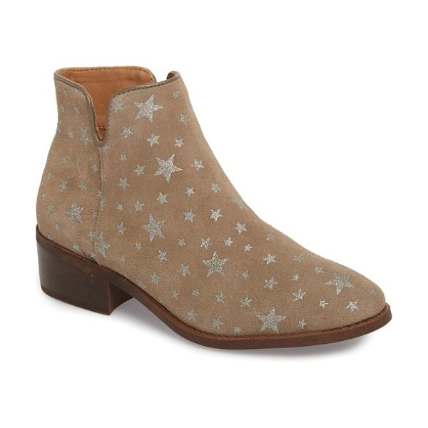 Steve Madden delila bootie in taupe multi suede - Glittering stars add a rock-star edge to this classic...
