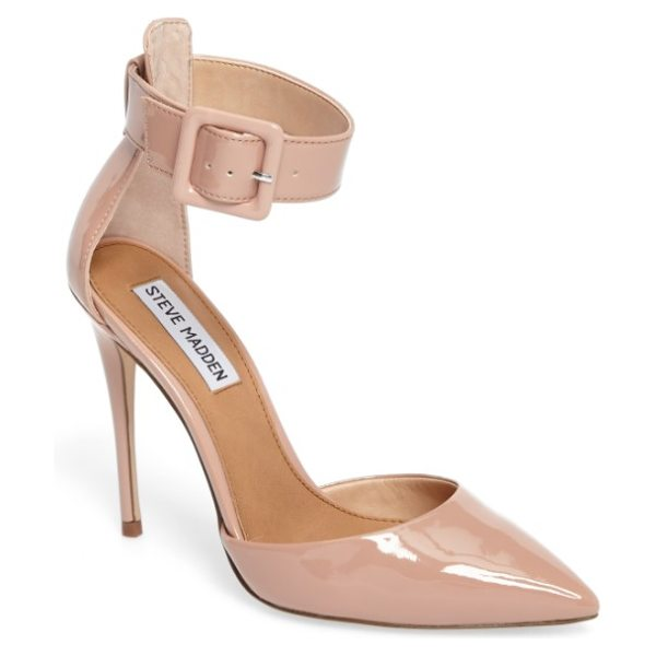 Steve Madden desire ankle strap pump in dark blush patent leather - The kind of pointy-toe pump that will take you from...