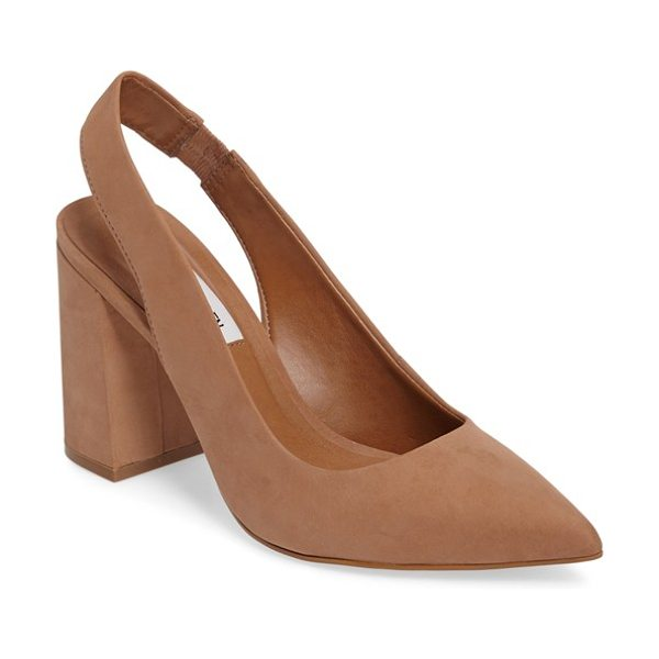 Steve Madden dove pointy toe pump in camel nubuck leather - A wrapped heel lifts a modern pointy-toe slingback made...