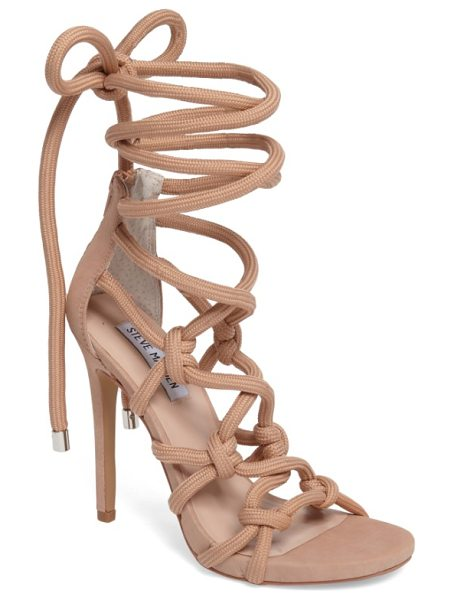 Steve Madden dream ankle tie sandal in blush nubuck - Knotted rope straps bring a no-nonsense vibe to a...