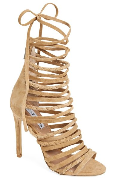Steve Madden drexel gladiator sandal in sand suede - Laddered skinny straps-some braided-steal the show on a...