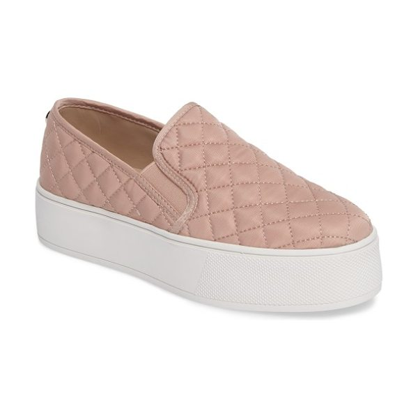 Steve Madden ecentrcq quilted platform sneaker in blush - A sleek quilted upper lives in harmony with a sporty...