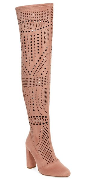 Steve Madden eden over the knee boot in rose suede - Geometric laser cutouts add a breezy update to a...