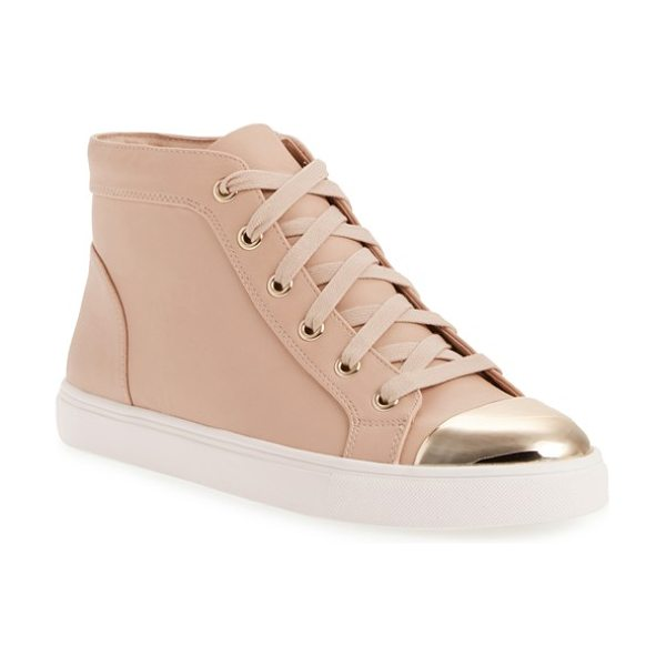 Steve Madden eltra high top sneaker in blush - A gleaming toe cap furthers the refined style of a...