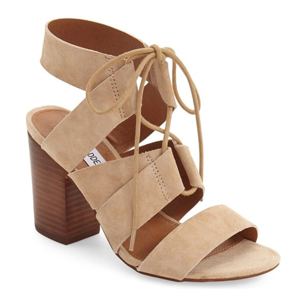 Steve Madden 'emalena' ghillie sandal in sand suede - Crisscrossed ghillie laces span the open top of a suede...
