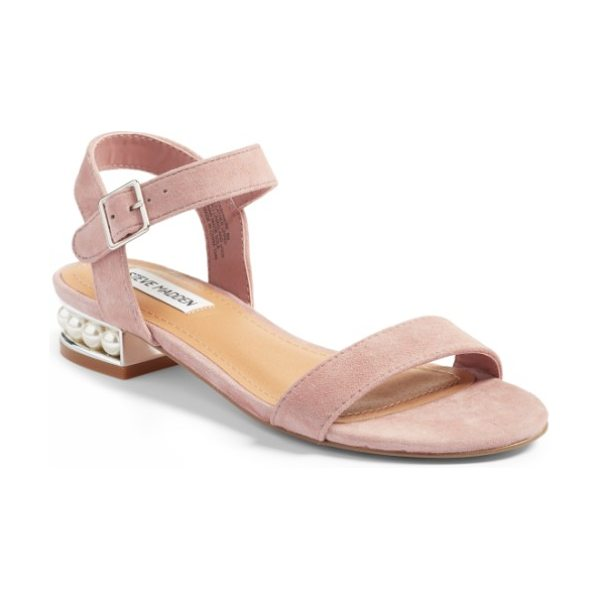 Steve Madden embellished sandal in mauve suede - Tiny imitation pearls shimmer beautifully at the heel of...