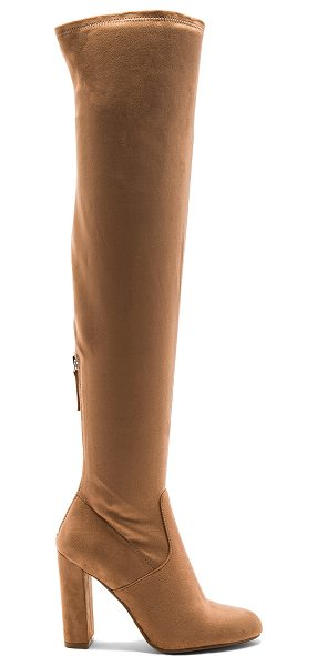 Steve Madden Emotions Boot in camel - Faux suede upper with man made sole. Back zip closure....