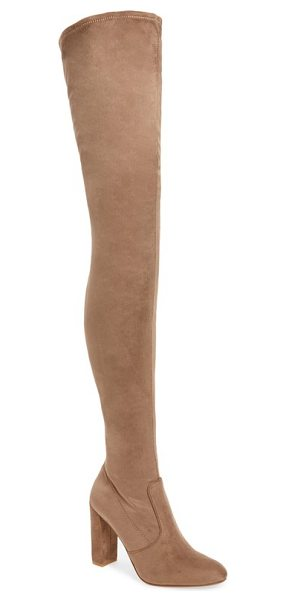 Steve Madden ezra thigh high boot in taupe - Long, lean and oh-so chic, this thigh high boot is...