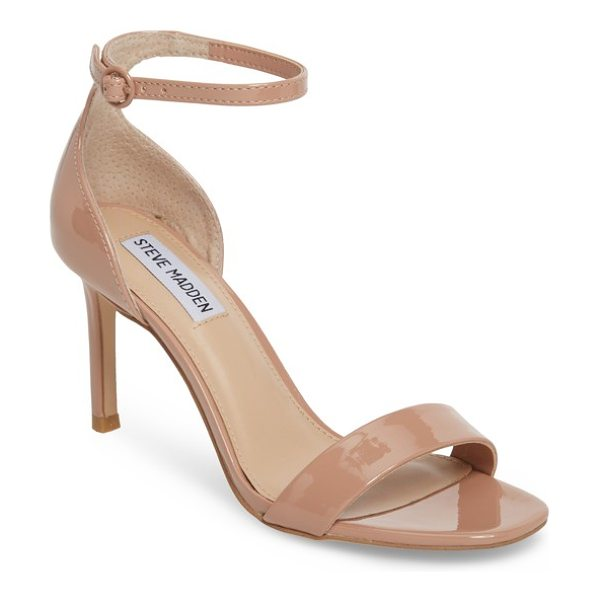 STEVE MADDEN fame halo strap sandal in blush pat - Two simple straps bridge the toe and wrap the ankle of a...