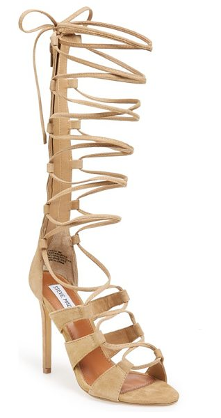 Steve Madden faroh lace-up sandal in sand suede - Slim lace-up straps intensify the retro,...