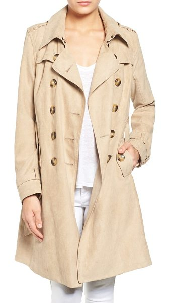 Steve Madden faux suede trench coat in nude - A double-breasted trench cut from velvety-soft faux...