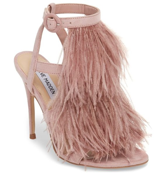 Steve Madden fefe feather sandal in pink - Floaty feathers drift from the tiered straps of a...