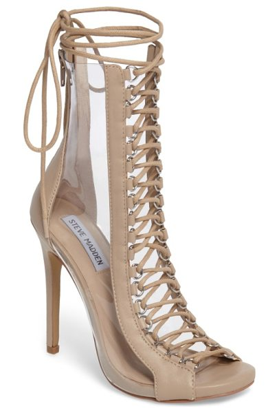 STEVE MADDEN flash lace-up bootie in natural - Transparent side panels and corset-inspired lacing over...