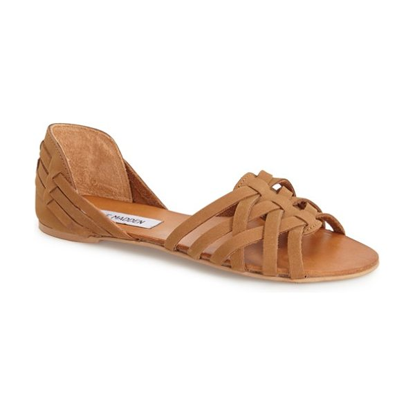 Steve Madden flute flat in cognac leather - An open-toe flat from Steve Madden takes on this...