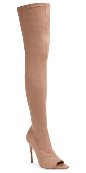 Steve Madden forbidden over the knee boot in brown - A flirty peep toe and a lofty stiletto heel set the...