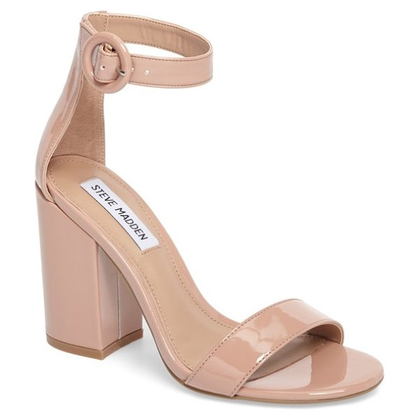 Steve Madden friday sandal in blush patent leather - A retro round buckle secures the slim ankle strap on a...