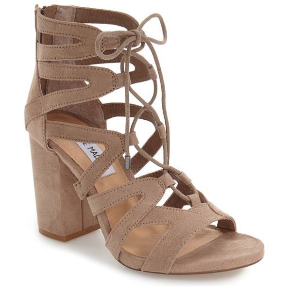 Steve Madden 'gal' strappy lace-up sandal in taupe - Sinuous arched straps connect with ghillie-style lacing...