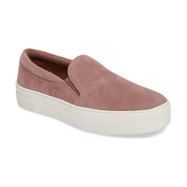Steve Madden gills platform slip-on sneaker in mauve suede - A classic slip-on sneaker gets a luxe update with a...