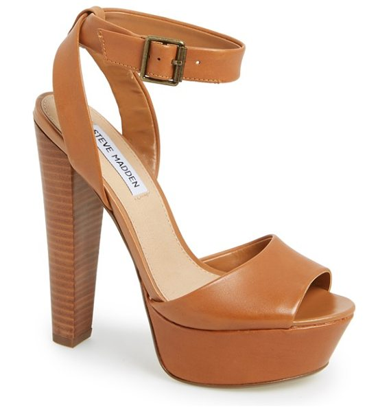 STEVE MADDEN gingeer leather platform sandal - A sky-high stacked heel and chunky platform boost a...