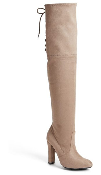 Steve Madden gleemer over the knee boot in taupe suede - Instantly embolden your look with a dramatic...