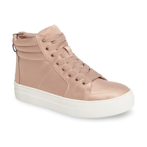 Steve Madden golly mid top sneaker in blush satin - Satiny fabric amps up the street-chic attitude of a...