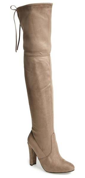 Steve Madden gorgeous over the knee boot in taupe suede - Back lacing brings a sultry vibe to this over-the-knee...