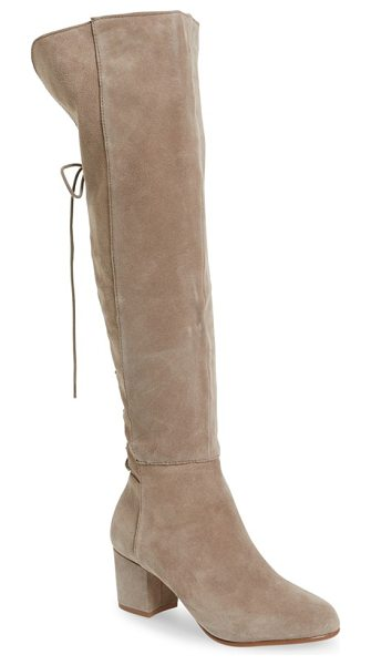 Steve Madden hansil knee high boot in taupe suede - Corset-inspired laces lend Victorian drama to an...