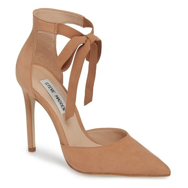 STEVE MADDEN heart tie pump in camel nubuck - Soft, tonal laces tie at the ankle of a sultry...