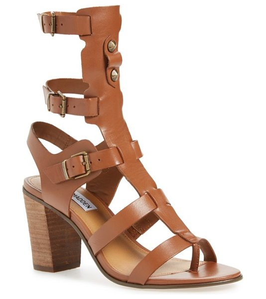 Steve Madden homegirl buckle gladiator sandal in cognac leather