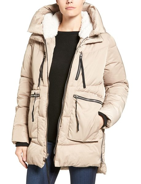 STEVE MADDEN hooded puffer jacket with faux shearling trim - Plush faux shearling lines the hood of this puffer...