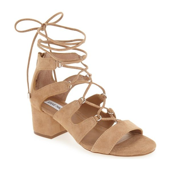 Steve Madden indea sandal in camel suede - Slender, wraparound ankle ties secure a modified...