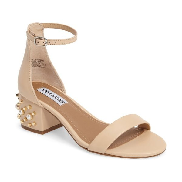Steve Madden indi sandal in blush leather - A block-heel sandal embellished with glinting studs and...