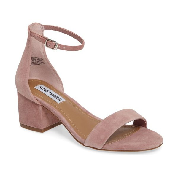 Steve Madden irenee ankle strap sandal in rose suede - A block-heel sandal featuring a slender ankle strap...
