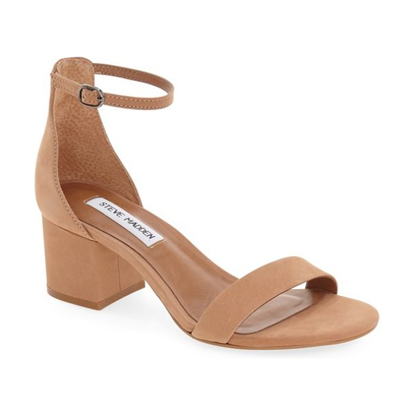 Steve Madden irenee ankle strap sandal in tan nubuck - A block-heel sandal featuring a slender ankle strap...