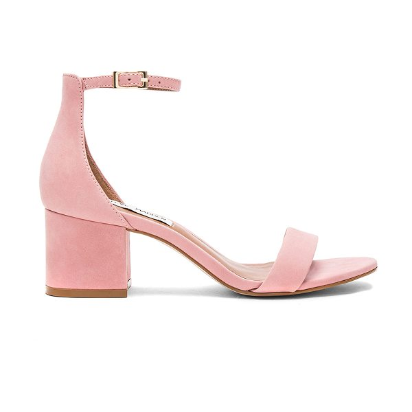 Steve Madden Irenee Heel in pink nubuck - Suede upper with man made sole. Ankle strap with buckle...