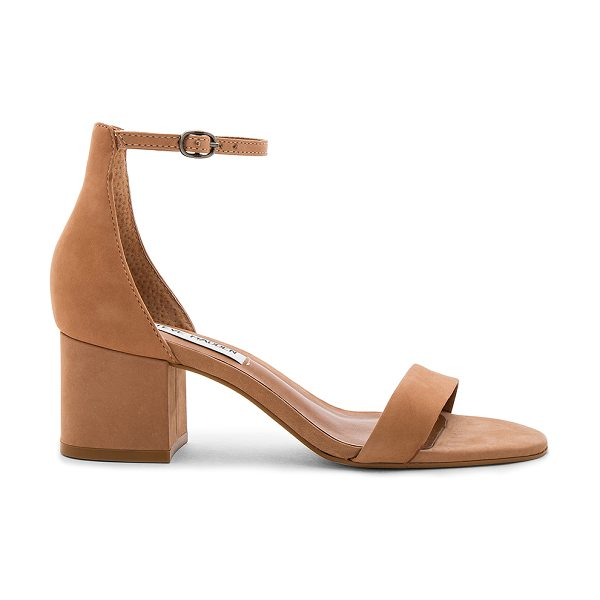 Steve Madden Irenee Heel in tan nubuck - Leather upper with man made sole. Ankle strap with...