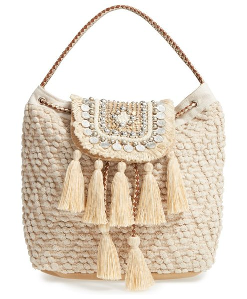 Steve Madden jaxelcoins backpack in natural - Capitalize on boho-chic style with a textured drawstring...