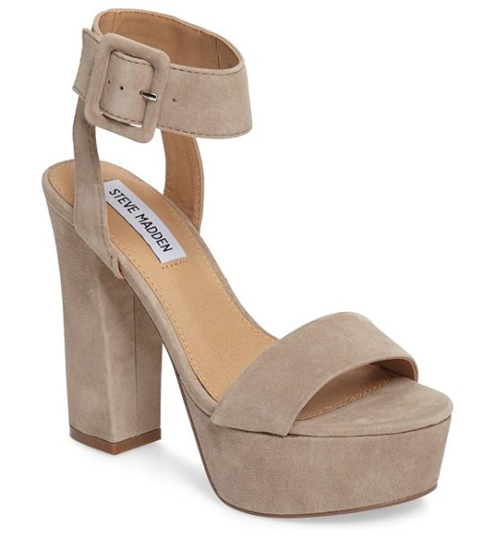 STEVE MADDEN joline sandal in taupe suede - A chunky platform and sky-high heel add retro-inspired...