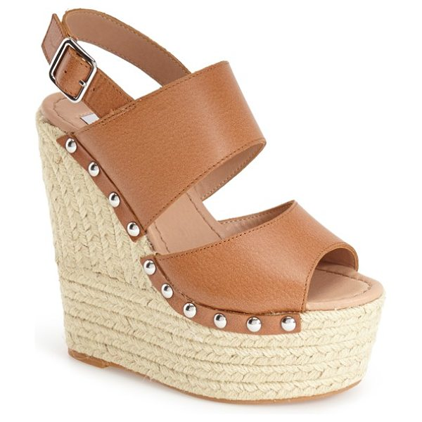 Steve Madden jummbo espadrille wedge sandal in cognac leather - Braided trim wraps the super-chunky wedge and platform...