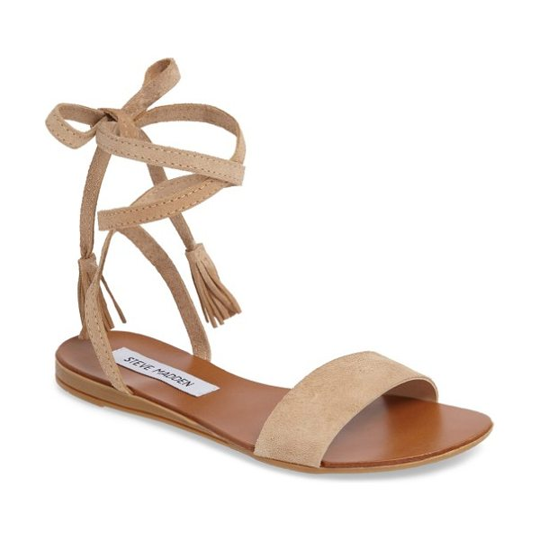 Steve Madden kapri wraparound lace sandal in blush suede - Tassels tip the soft, wraparound laces of a breezy flat...