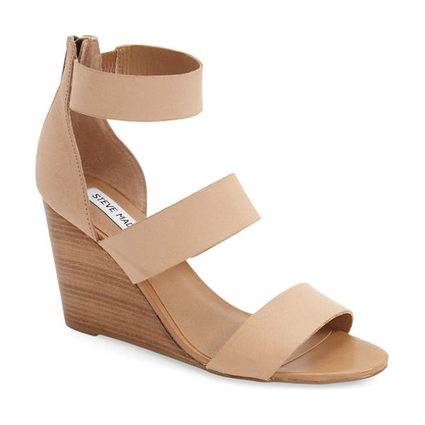 Steve Madden karey wedge sandal in bone leather - A trio of smooth leather straps tops the foot on a...