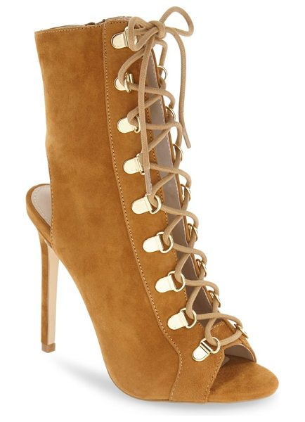 Steve Madden kennee open toe bootie in cognac suede - Utilitarian-inspired laces weaving through goldtone...