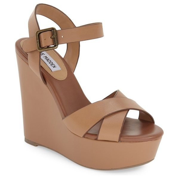 Steve Madden keviee wedge sandal in natural leather - A towering wedge and a chunky platform lift this strappy...