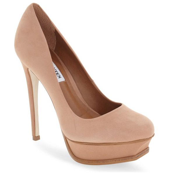 Steve Madden kiss platform pump in tan nubuck - A lofty heel and platform further the retro attitude of...