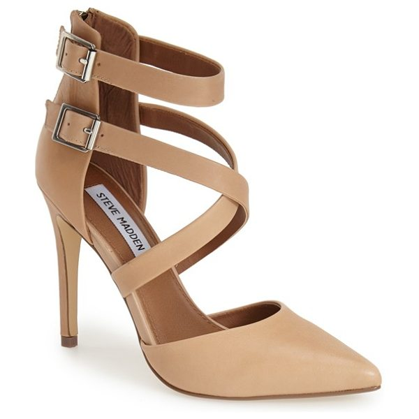 Steve Madden klassssy pointy toe pump in tan leather - Sleek buckle straps provide a perfectly poised update...