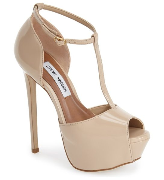 Steve Madden kriminal t-strap platform sandal in blush leather - A lofty platform adds bold retro flair to a high-shine...