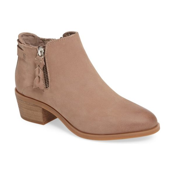 Steve Madden kyle bootie in stone nubuck leather - A tulip topline defines a Western-chic bootie crafted...