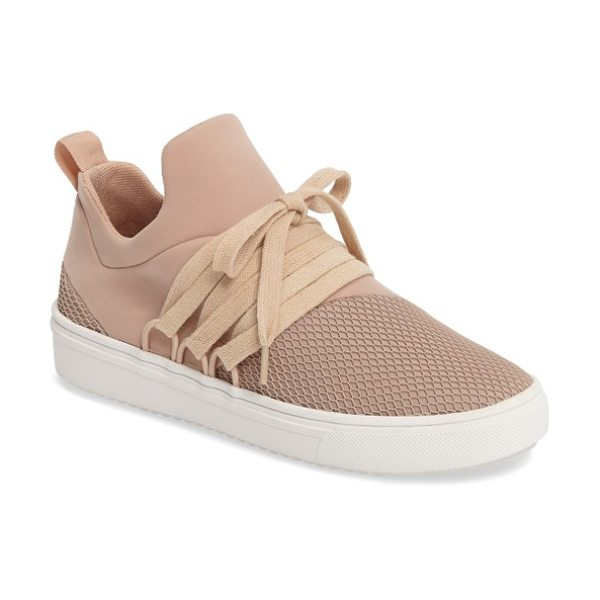 Steve Madden lancer sneaker in blush - Wide-set laces and a monochromatic palette amplify the...