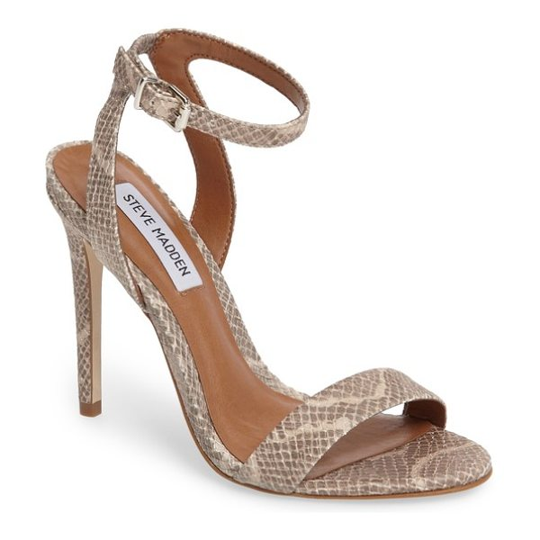 Steve Madden landen ankle strap sandal in natural snake faux leather - A slim ankle strap lends a dash of on-trend elegance to...